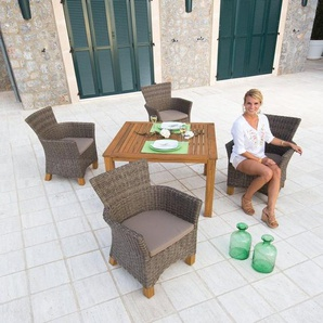 MERXX Gartenmöbelset »Toskana«, 9-tlg., 4 Sessel, Tisch 110x100 cm, Polyrattan/Akazie
