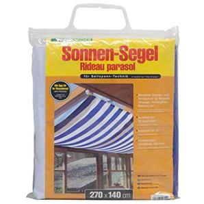 Windhager Sonnensegel für Seilspanntechnik Sonnenschutz Segel 270 x 140 cm, ideal für Pergola oder Wintergarten, BLAU/WEISS 10811
