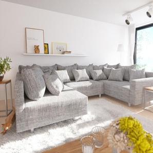 Wohnlandschaft Clovis Hellgrau Strukturstoff mit Armlehne Modulsofa, Design Wohnlandschaften, Couch Loft, Modulsofa, modular