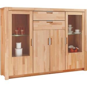 Carryhome: Highboard, Glas, Holz,Kernbuche, Buche, B/H/T 162,7 121,6 40