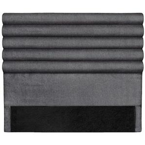 Design-Bettkopfteil aus dunkelgrauem Stoff 140 cm HORIZON