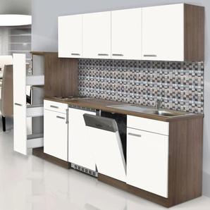 Respekta Küchenzeile KB225EYW 225 cm Weiß-Eiche York Nachbildung