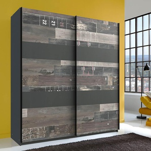 Schwebetürenschrank 2-trg. in graphit mit Absetzungen im Digitalprint, 2 Einlegeböden und 2 Kleiderstangen, Maße: B/H/T ca. 180/198/64 cm