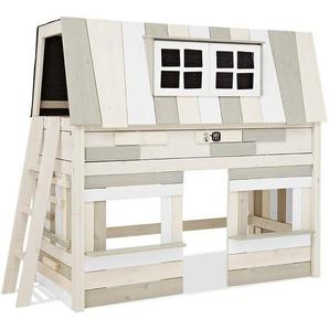 LIFETIME Hochbett Villa - 90x200 cm - weiß mit Holzstruktur