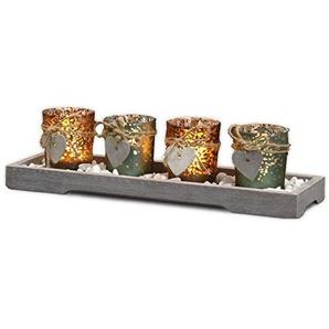 INtrenDU Teelichthalter-Set Holz Tablett Tischdekoration Landhaus Windlicht Weihnachtsdekoration innen