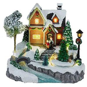 Formano Spieluhr beleuchtet mit LED Winterlandschaft Weihnachtsdeko Winterdeko Spieluhr 28x24 cm   Inkl LED Beleuchtung
