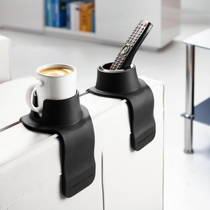 CouchCoaster Getränkehalter fürs Sofa, rutschfeste Silikonauflage, 42,5 x 15 x 6 cm, schwarz