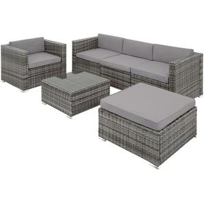 Rattan Lounge mit Stahlgestell Mailand - Loungemöbel, Gartenmöbel, Gartengarnitur - grau - TECTAKE