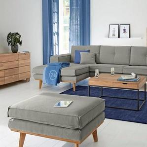 GMK Home & Living Polsterecke »Janis«, Leinen oder NaturLEDER mit Eichen-Füßen und Außennaht, grau, Leinen-/Baumwollmix