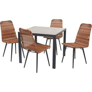 Gartengarnitur HHG-602, Sitzgruppe Balkon-Set, WPC-Tischplatte 4xPoly-Rattan Stuhl+Tisch 76x90x90cm ~ braun