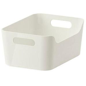 IKEA Aufbewahrungsbox Variera stapelbare Kiste in 24x17x10.5cm (BxTxH) mit Tragegriffen - Hochglanz weiß - aus recyceltem PET