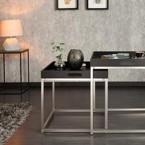 Modernes Design Beistelltisch 2er Set ELEMENTS 50cm schwarz Stahl Tablett Tisch