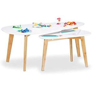 Relaxdays Satztisch aus Holz, Beistelltisch in 2 Größen, Bambus Holzbeine, breiter Couchtisch, Nordisches Design, weiß