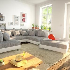 Wohnlandschaft Clovis Weiss Hellgrau Modulsofa Hocker, Design Wohnlandschaften, Couch Loft, Modulsofa, modular