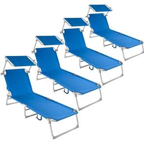 4 Gartenliegen 4-stufig - Sonnenliegen, Liegestühle, Relaxliegen - blau - TECTAKE