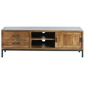 TV-Möbel mit 1 Tür und 2 Schubladen aus massivem Mangoholz und schwarzem Metall Hipster