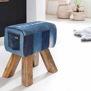 Jeans Hocker in Blau Holzbeinen
