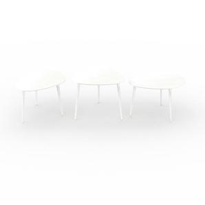 Couchtisch Weiß - Eleganter Sofatisch: Beste Qualität, einzigartiges Design - 67/59/67 x 44/50/44 x 50/61/50 cm, Konfigurator