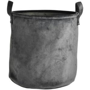 Samt-Aufbewahrungskorb, D:34cm x H:35cm, grau