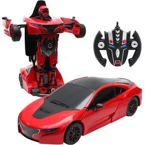 COSTWAY 2,4 GHZ RC Transformator Roboter-Auto Ferngesteuert Auto & Robot verwandelbar 1:14RS rot