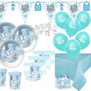 Kids Party World XL 67 Teile Baby Shower Deko Set Storch Hellblau 16 Personen
