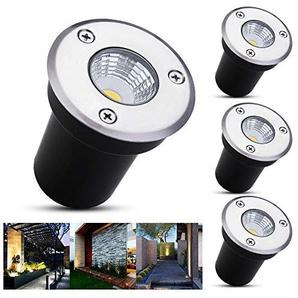 B-right 4er LED Bodeneinbaustrahler, 3W Bodeneinbauleuchte für Außen, Bodenlampe Außen, rostfrei, befahrbar, bis zu 800 kg belastbar, 12V-24V DC, Einbau Durchmesser 5,8 cm, Edelstahl rund warmweiß