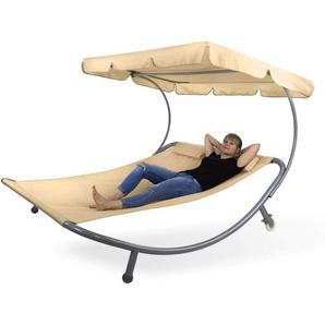 Doppelliege Gartenliege Relaxliege Freizeitliege Palma Beige mit Sonnendach - DEMA