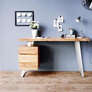 Schreibtisch Live-Edge 147x62 cm Akazie Natur 3 Schübe, Schreibtische, Baumkantenmöbel, Massivholzmöbel, Massivholz, Baumkante, Wolf Live Edge
