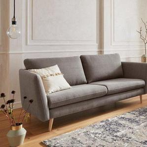 Guido Maria Kretschmer Home&Living 3-Sitzer »Cergy«, in skandinavischem Stil, mit Beinen aus Eiche, braun, Baumwolle