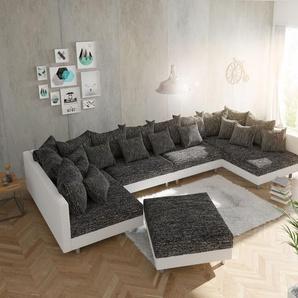 Wohnlandschaft Clovis XL Weiss Schwarz mit Hocker modular, Design Wohnlandschaften, Couch Loft, Modulsofa, modular