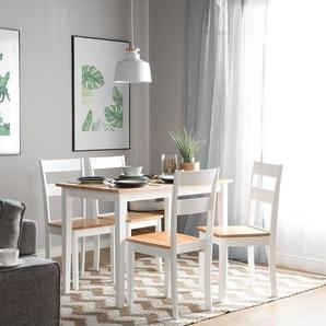 Esstisch Holz hellbraun/weiß 114 x 68 cm GEORGIA