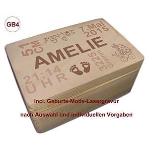 MidaCreativ zur Geburt, Holz-Geschenkbox Gr. 1 Kiefer incl. Auswahl-Lasergravur (GB4)