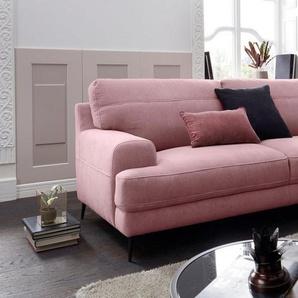 exxpo - sofa fashion 3-Sitzer, rosa, Veloursstoff