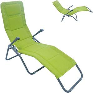 XXL Bäderliege Deluxe extra hoch Sitzhöhe ca. 43 cm Sonnenliege Gartenliege Liege Aluminium Schwingliege Saunaliege Textilene grün - MEERWEH