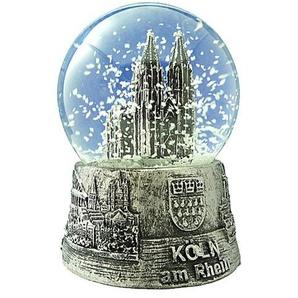 Schneekugel Kölner Dom silber mittel 6,5 cm