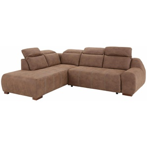 Premium Collection By Home Affaire Ecksofa »Spirit« mit Bettfunktion, braun, komfortabler Federkern, hoher Sitzkomfort