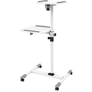 Beamerwagen Beamer Rollwagen Laptoptisch Notebooktisch Verstellbar und Neigbar, sehr stabil und leicht, Weiss