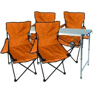 5-teiliges Campingmöbel Set orange-MMC330872+4xMPO2468 - MOJAWO