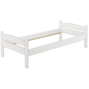 Erst-Holz® Bettgestell weiß 80x200 Einzelbett Massivholzbett Kiefer Jugendbett ohne Rollrost 60.32-08 W oR