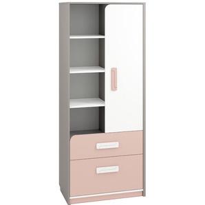 Kinderzimmer - Schrank Renton 03, Farbe: Platingrau / Weiß / Puderrosa - Abmessungen: 199 x 80 x 40 cm (H x B x T), mit 1 Tür, 2 Schubladen und 8 Fächern