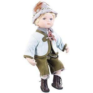 PEARL Deko-Puppe Porzellan: Sammler-Porzellan-Puppe Anton mit bayerischer Tracht, 36 cm (Sammelpuppe)
