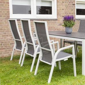 Gartentisch mit einem Gestell aus Aluminium in hellgrau und einer Spraystone Tischplatte, Maße: B/H/T ca. 220/74/100 cm