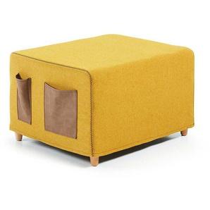 Hocker mit Schlaffunktion Gelb Webstoff