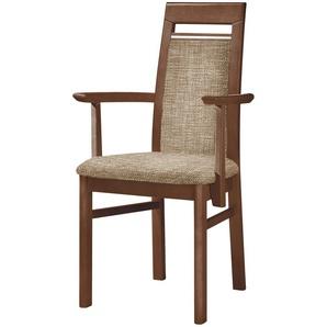 Stuhl Buche nussbaum natur Stoff natur,  Cristal ¦ braun ¦ Maße (cm): B: 60 H: 99 T: 56 Stühle  Esszimmerstühle  Esszimmerstühle ohne Armlehnen » Höffner