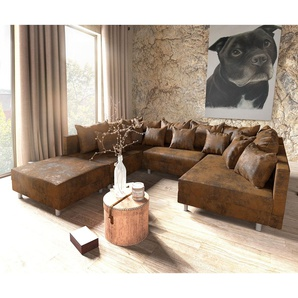 Wohnlandschaft Clovis Braun Antik Optik modular Hocker, Design Wohnlandschaften, Couch Loft, Modulsofa, modular