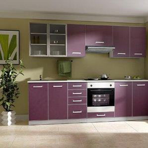 Küche Emma 260cm Küchenzeile/Küchenblock variabel stellbar in aubergine/grau