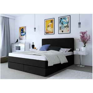 ELESS Keigo Boxspringbett Continentalbett Amerikanisches Bett Doppelbett Ehebett Gästebett Schwarz 140x210 cm