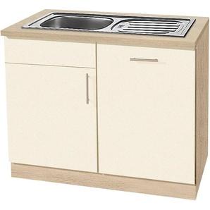 wiho Küchen Spülenschrank »Kiel« 110 cm breit, inkl. Tür/Griff/Sockel für Geschirrspüler, gelb