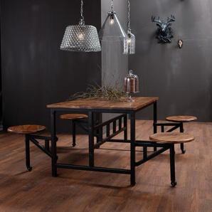 KARE Esstisch mit Hocker, Natur, Holz