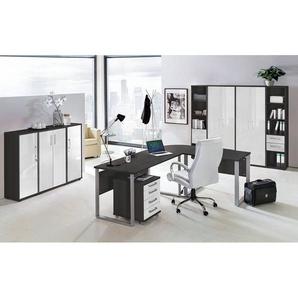 Büromöbel Set TALLINN-16 anthrazit, Hochglanz weiß, 11-teilig, Eckschreibtisch mit Metallkufen, 5 Aktenschränke